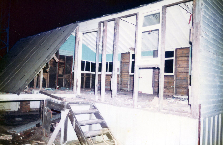 Demolition of the old hut