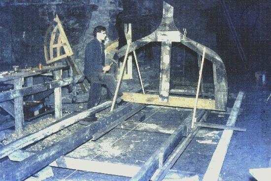 First frame erected in the mine below Newbigging Farm